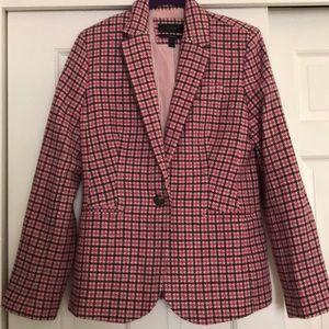 J Crew Campbell blazer w: pink and burgundy plaid.